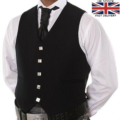 100% Wool 5 Button Black Waistcoat Scottish Prince Charlie, Argyle Kilt/wedding.
