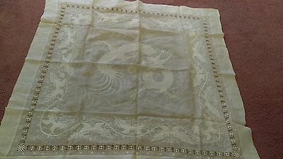 "Antique Needle Bobbin Muslin 36"" Linen Asisan Dragons"