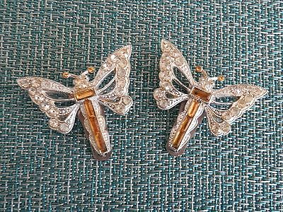 Vintage Yellow and White Rhinestone Butterfly/Dragonfly Shoe Clips
