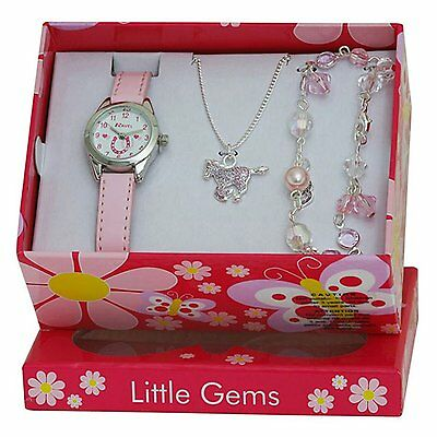 Kids Horse Watch Jewelry Gift Set Girls Necklace Bracelet Pink Toddler Charm New