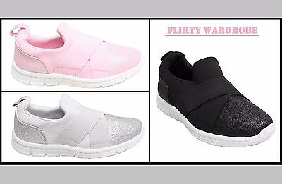 Womens Trainers Pumps Gym Shoes Ladies Comfortable Glitter Stretch Casual Slipon