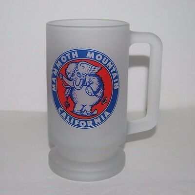 """Vintage Mammoth Mountain California 6"""" Tall Elephant Frosted Glass Beer Mug"""