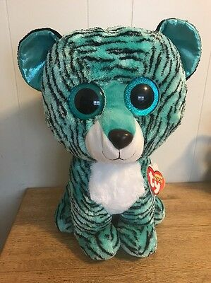 """TY BEANIE BOOS JUMBO TESS THE 17"""" JUSTICE EXCLUSIVE TIGER.2015.Free Shipping"""