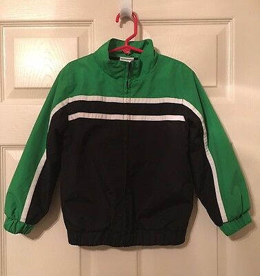 Okie Dokie Size 5T Boy Jacket Smooth Poly Green & Navy~Flannel Lined. Nwot