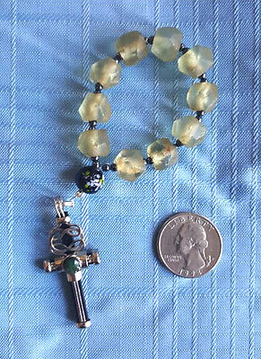 Pocket Rosary, Made in the U.S., Green Quartz with Jade Stone Cross