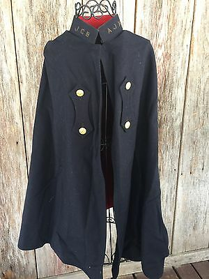 Wool Nurses Cape Vintage Navy Red Initials Brass Buttons Small Size
