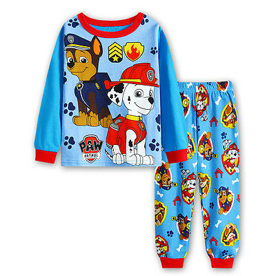 Paw Patrol Boys long sleeve cotton pjs pyjamas set sleepwear size 1-6 sky blue