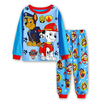 Paw Patrol Boys long sleeve pjs pyjamas set sleepwear size 1-6 sky blue