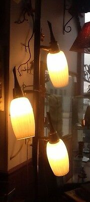 VINTAGE DANISH MODERN TENSION LAMP POLE MID CENTURY MODERN Wood Glass Metal