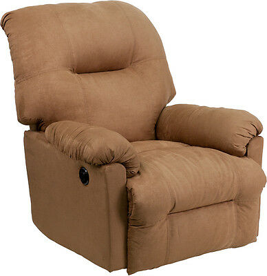 Contemporary Calcutta Camel Microfiber Power Chaise Recliner with Push Button [A