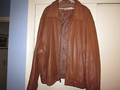 Men's Perry Ellis Brown Leather Jacket Size L (XXL) with Zipper in front