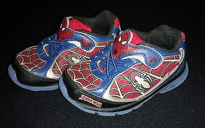 Boys leather Stride Rite 'Spiderman' light up sneakers shoes size 7.5 VGUC!