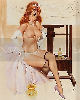Fritz Willis-In The Studio, Canvas/Paper Print, Pinup Girl