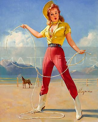 Gil Elvgren-Perfect Form, Canvas/Paper Print, Pinup Girl, Cowgirl