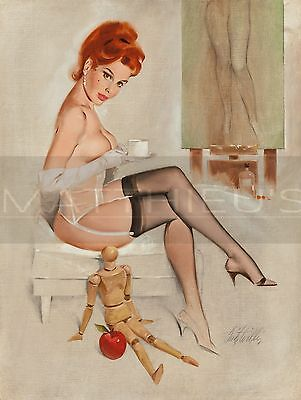 Fritz Willis-Redhead With Anna's Mannequin, Canvas/Paper Print, Pinup Girl