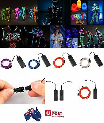 New 5M EL Strip Light Soft Flash Flexible Neon Glow Tube Wire Rope +Battery Case