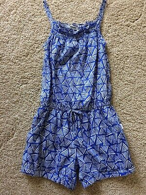 EUC Girls DKNY Romper Playsuit 100% Cotton Blue & White With Pockets Small 5-6