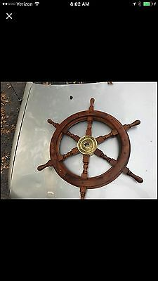 "22"" Nautical Wood Boat Steering Wheel Brass Middle"