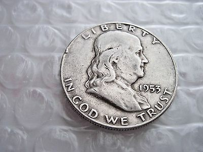 1953-D US Franklin Half Dollar 50c Circulated 90% Silver Great Investment