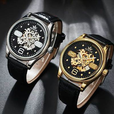 Luxury Men Steampunk Skeleton Stainless Steel Automatic Mechanical Wrist Watches