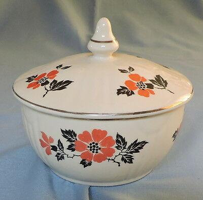 """Hall China Red Poppy """"Radiance"""" Covered Grease Jar - C2949"""