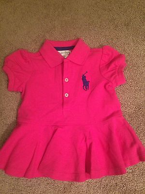 Girls Baby 12 Months Ralph Lauren Polo Big Pony Dress Dress Pink New