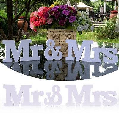 New Mr & Mrs Signs Letters White Romantic Ornaments Wedding Party Table Decor