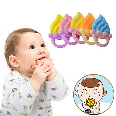 Cute Newborn Baby Teether Safe/ Soft Silicone Teething Tool Infant Biting Toy