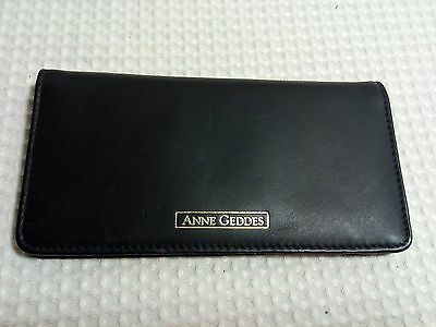 Anne Gedded Standard Style Black Soft Genuine Leather Checkbook Cover