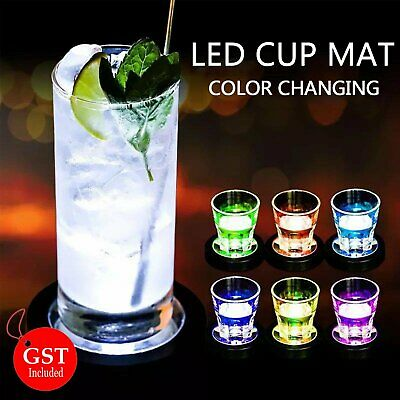 1X LED Coaster Color Changing Light Up Bottle Drink Cup Mat Glow Bar Club Party