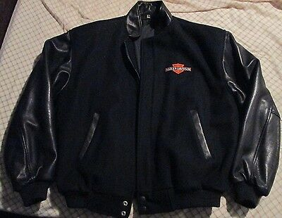 Harley Davidson Leather / Wool / Satin Coat Black Size L Made in Canada