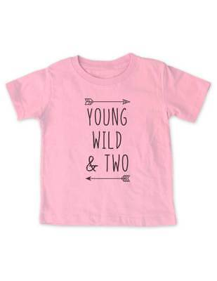 Young Wild & Two - cool boho Birthday Shirt 2nd Age 2 Two year Toddler Shirt