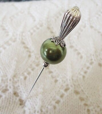 Green Glass Pearl Bead HatPin with clutch ~Lapel Hat Brooch Stick Pin