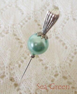 Sea Green Glass Pearl Bead HatPin with clutch ~Lapel Hat Brooch Stick Pin