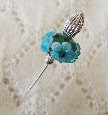 Green Blue Flower Lampwork Bead HatPin with clutch ~Lapel Hat Brooch Stick Pin