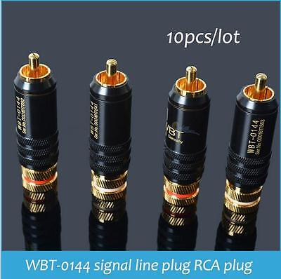 10pcs RCA Connectors Male WBT-0144 Signal Line Plug WBT 0144 RCA Plug Lotus Head