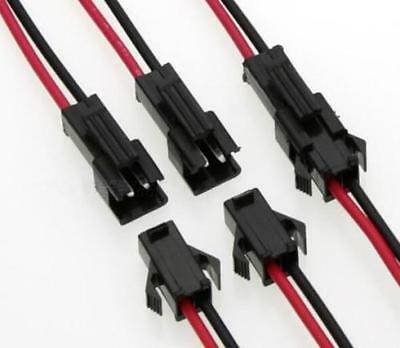 20 Pairs JST SM 2-Pins 2P Female & Male Plug Connector Wire Cables For LED Strip
