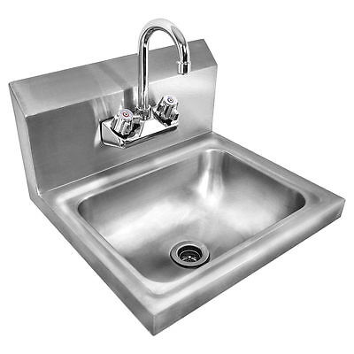 Stainless Steel Hand Wash Sink Washing Wall Mount Kitchen Heavy Duty Commercial