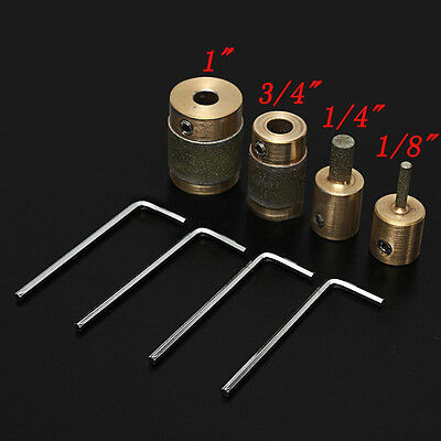 """4pcs Standard Brass Grit Grinding Bits 1"""" 3/4"""" 1/8"""" 1/4"""" for Stained Glass Tool"""