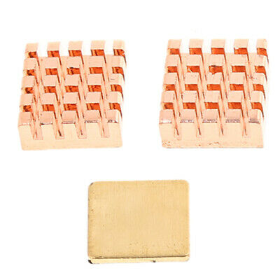 3X Heatsinks Copper Heat Sink Cooling Cooler Kit for Raspberry Pi 3 Model B
