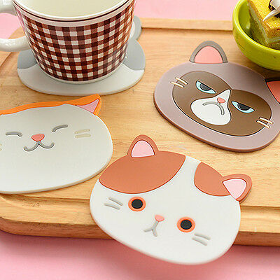Lovely Cat Pattern Silicone Insulation Placemat Coaster Cup Bowl Mat Welcome