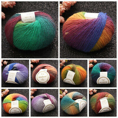 10 Colors 50g Colorful Soft Baby Cashmere Wool Sweater Hat Knitting Crochet Yarn