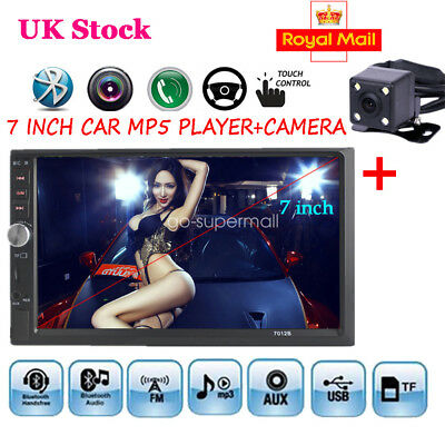 7'' Double 2 Din Bluetooth Car Stereo Radio Touch Camera MP5 AUX/USB/FM Player