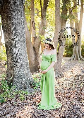 Green Off Shoulder Maternity Dress Gown - Photography Photo Prop - Size 8-12