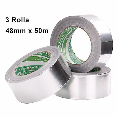 3 x Aluminium Foil Self Adhesive Heat Insulation Tape Silver Duct 48mm x 50m