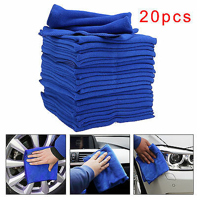 20x New Detailing Cleaning Car Soft Cloths Large Microfibre Ultra Absorbant Blue