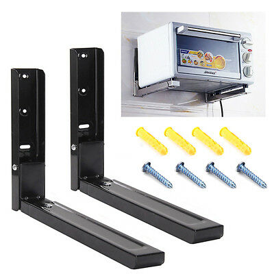 2PCS Microwave Bracket Wall Mounting Holder Brackets With Extendable Arms Black