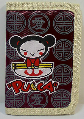 JAPANESE ANIME PUCCA 5'' SLIM WALLET w/ ZIPPER & CORD UNUSED A