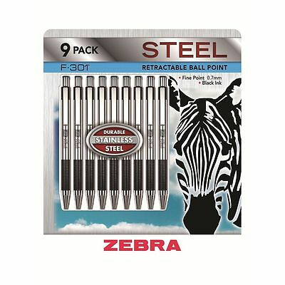 NEW 9pk Zebra Stainless Steel Ball Point Fine Retractable Pen 0.7mm Free Ship