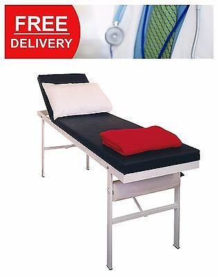 High Quality First Aid Room Couch Black Medical Furniture Bed Epoxy Coated Steel